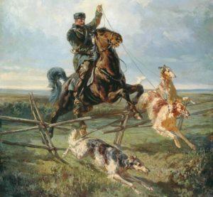 Рудольф Френц. Егерь с тремя борзыми (фрагмент). 1872